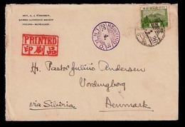 CHINA. 1935. Manchuria / Japanesse Occup. Antung / Denmark. P.M. Rate. 5 Sen. Env. Via Hsinking / INPO. + Red Mark. VF. - China