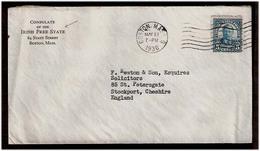 USA. 1936. EIRE - Boston / England. Consular Mail Printed. IRISH FREE STATE. ( 6 Dec 22-29 Dec 37). Frkd.env. - United States