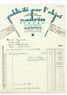 Facture 1934 Sadrin Frères Nantes Rue Piron Publicité Par L'Objet TB 205 X 280 Mm - France