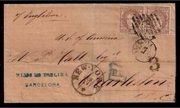 E-GOBIERNO PROVISIONAL. 1871. 107º (2). Barcelona A Charleston / USA. Sobre Anulado Por Via Inglesa. - Spain