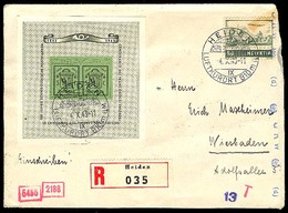 SWITZERLAND. 1943. Heiden / Germany. Registered Centenary Minsheet Fkd Censured Env. - Switzerland