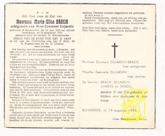 DP Maria Elisa Braem ° Bovekerke Koekelare 1878 † 1955 X Constant Dujardin / Darras Debou - Images Religieuses