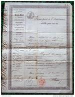 """PASSEPORT """"POLICE GENERALE DU ROYAUME"""" D33 BORDEAUX - Mr RAYNAL, Rentier, SA DAME Et Une DOMESTIQUE ! En 1845 - Vieux Papiers"""