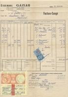 Facture Congé Vignette Fiscal Vins Et Spiritueux 1960 Etienne Gazeau Challans TB 210 X 310 Mm RR - Francia