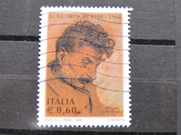 *ITALIA* USATI 2008 - CENT GIOVANNINO GUARESCHI - SASSONE 3029 - LUSSO/FIOR DI STAMPA - 6. 1946-.. Repubblica