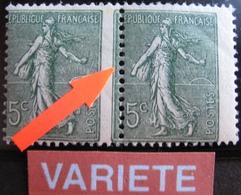 R1934/8 - 1903 - TYPE SEMEUSE LIGNEE (PAIRE) N°130 TIMBRES NEUFS** PIQUAGE A CHEVAL - Variétés Et Curiosités
