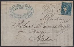 N°46Ba, 20c BLEU-FONCÉ, Oblitéré GC 361 BAZAS Sur Lettre Pour Bordeaux - 1870 Bordeaux Printing