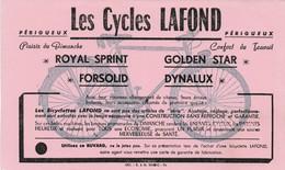 Buvard Pub Publicité  Rare Les Cycles Lafond Périgueux Royal Sprint Forsolid Golden Star Dynalux... - Transports