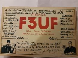 CARTE QSL RADIO AMATEUR FRANCE 51 MERLAUT 1948 - Radio Amateur