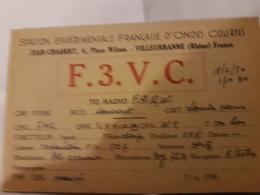 CARTE QSL RADIO AMATEUR FRANCE 69 VILLEURBANNE 1950 - Radio Amateur