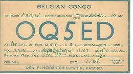 CARTE QSL RADIO AMATEUR CONGO BELGE 1951 - Radio Amateur