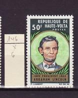 Haute Volta - Obervolta - Upper Volta 1965 Y&T N°146 - Michel N°173 * - 50f A Lincoln - Haute-Volta (1958-1984)