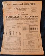 Rare Document Commercial 1936 Établissements Courcier Paris Coutellerie Couverts Bouchons Verseurs Canif - France