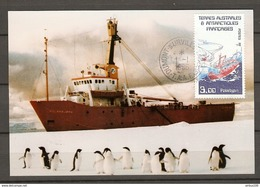CARTE PHOTO FUJI TAAF 1986 M/V POLARBJORN RIEBER SHIPPING A/S ANTARTIC 1985 1986 DUMONT D'URVILLE - Y & T 121 - VOIR DOS - TAAF : Terres Australes Antarctiques Françaises