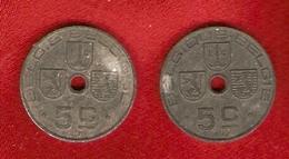 Belgique - 5 Centimes Léopold III - 2 Monnaies - 1941 FR, 1942 NL - 01. 5 Centimes