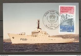 CARTE PHOTO KODAK TAAF 1984 Ass. LATITUDES SUD COMMÉMORATION DE LA MISE EN SERVICE DU PATROUILLEUR ALBATROS - TAAF : Terres Australes Antarctiques Françaises