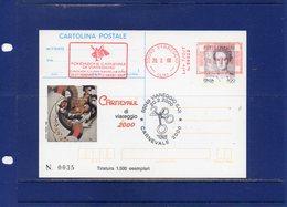 ##(ANT11)-2000-cart. Postale L800/€0,41 I.P.Z.S. Carnevale Di Viareggio 2000.affrancatura EMA Fondazione Carnevale - 6. 1946-.. Repubblica