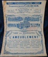 Rare Document Commercial 1934 Établissements Courcier Rue De La Roquette Paris Ameublement Dentelles Voilages - France