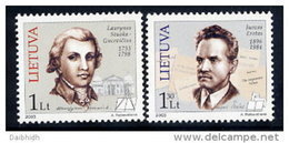 LITHUANIA 2003  Personalities Set Of 2 MNH / **.  Michel 807-08 - Lithuania