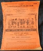 Rare Document Commercial 1937 Établissements Courcier Rue De La Roquette Paris Jeux Et Jouets - France