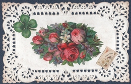 Fantaisie, Ajoutis Fleurs Et Trèfle, Pourtour Dentelle. - Fancy Cards