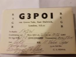 CARTE QSL RADIO AMATEUR ANGLETERRE LONDRES 1961 - Radio Amateur