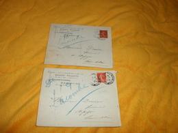 LOT DE 2 ENVELOPPES UNIQUEMENT DE 1908.../ EUGENE VILLETTE PARIS 10e.../ POUR ARPAJON..CACHETS + TIMBRE - Marcophilie (Lettres)