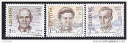 LITHUANIA 2002 Personalities Set Of 3 MNH / **.  Michel 783-85 - Lithuania