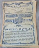 Rare Document Commercial 1936 Établissements Courcier Rue De La Roquette Paris Mercerie Dentelles - France