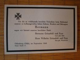 Todes- Traueranzeige Eines Soldaten 2. Weltkrieg Aus Oldenburg 1944 - Dokumente