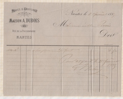 81027 Lettre Facture MAISON DUBOIS NANTES MODES COIFFURES / 1885 - Italie