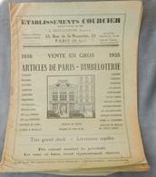 Rare Document Commercial 1935 Établissements Courcier Rue De La Roquette Paris Articles De Paris Bimbeloterie - France