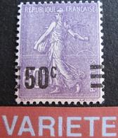 R1934/19 - 1926 - TYPE SEMEUSE LIGNEE N°223 NEUF** - VARIETE ➤➤➤ SURCHARGE A CHEVAL - Errors & Oddities
