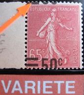 R1934/20 - 1926 - TYPE SEMEUSE LIGNEE N°224 NEUF**BdF - VARIETE ➤➤➤ SURCHARGE A CHEVAL - Variétés Et Curiosités