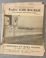 Rare Document Commercial 1938 Établissements Coursage Montluçon Allier Clotures Et Murs - France