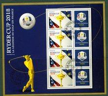 France 2018.Bloc Ryder Cup .La Légende Du Golf En France.Cachet Rond Gomme D'origine - Blocs & Feuillets