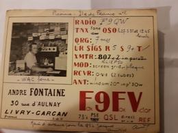 CARTE QSL RADIO AMATEUR FRANCE FRANCE LIVRY GARGAN - Radio Amateur