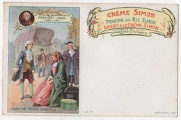 CPA Publicitaire Litho Crème Simon écrivains Abbé Prévost Manon Des Sources - Advertising
