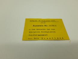 1936 Ausweis Diplomatic Identity Card Erik Braadland Passport Norway Issued In Hamburg - Historical Documents