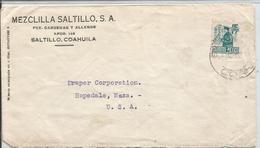 J) 1947 MEXICO, COMMERCIAL LETTER, MEZCLILLA SALTILLO, MAILMAN, CIRCULATED COVER, FROM SALTILLO TO USA - Mexico