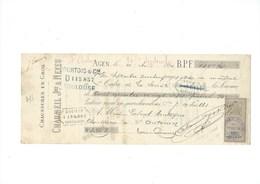 1886 Chaussures Banque Chèque Lettre De Change Escompte CHAUMEIL AGEN Timbre Enregistrement TB - France