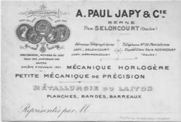SELONCOURT PAUL JAPY MECANIQUE HORLOGERE - Cartes De Visite