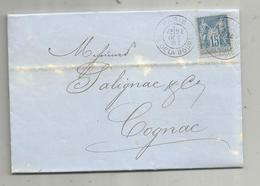 Lettre ,1887 , PARIS , PL. DE LA BOURSE , COGNAC , CHARENTE , 3 Scans - Postmark Collection (Covers)