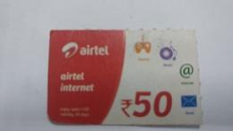 India-airtel Prepiad Card-internet Card-(52d)-(rs.50)-(new Delhi)-()-(look Out Side)-used Card+1 Card Prepiad Free - India