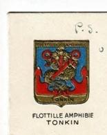 """Insigne """"Flottille Amphibie Tonkin"""" Circulé 1950 Sur Carton Double De """"Meilleurs Voeux De Noêl Et Du Jour De L'An"""" - Guerres - Autres"""