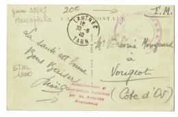 """Cachet """"405e Régiment D C A"""" & Griffe """"Acheminement & Distribution Autorisés Par Autorités Allemandes"""" Lautrec, 81 - Postmark Collection (Covers)"""