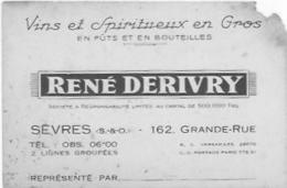 SEVRES VINS SPIRITUEUX RENE DERIVRY - Cartes De Visite