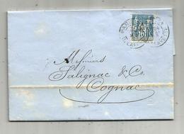 Lettre ,1893 , PARIS , R. LAFAYETTE , COGNAC , CHARENTE , 3 Scans - Postmark Collection (Covers)