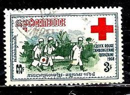 CAMBODGE 213° 5r Bleu-vert, Rouge Et Vert Quinzaine De La Croix-rouge Nationale (10% De La Cote + 0,15) - Cambodge