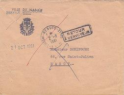 Cachet Rebuts Meurthe Et Moselle Sur Lettre Retournée ,1961 , , 2 Scans - Postmark Collection (Covers)